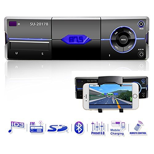 autoradio mit bluetooth single din in dash autoradio audio receiver unterstuetzt 18 fm mp3 usb handy halterung mmc sd fernbedienung von ironpeas - Autoradio mit Bluetooth, Single Din In-Dash Autoradio Audio-Receiver Unterstützt 18 FM/MP3/USB/Handy Halterung/MMC/SD/Fernbedienung von Ironpeas
